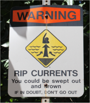 <p><strong>Fig. 5.21.</strong> (<strong>B</strong>) A sign at Ha'ena Beach Park, Kaua'i, Hawai'I, warns swimmers that rip currents can sweep swimmers out to sea.</p><br />