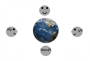 <p><strong>SF Fig. 6.7.</strong> In this figure, a face represents the near side of the moon. The face is always turned towards Earth. This figure is not drawn to scale.</p><br />