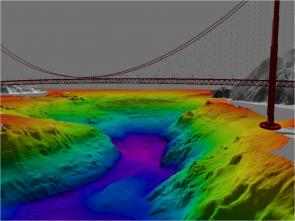 <p><strong>Fig. 7.49.</strong> Three-dimensional computer model of the seafloor looking west under the Golden Gate Bridge, San Francisco, California. Red indicates the shallowest areas of the bay; purple indicates the deepest area of the bay.</p><br />