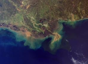 <p><strong>Fig. 7.60.</strong> Intense rainfall and melting snow can increase sediment runoff into the ocean. This image is from the Mississippi river delta.</p><br />
