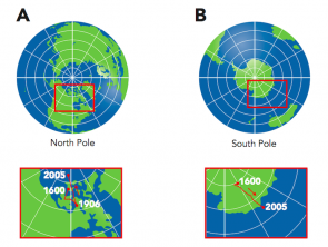 <p><strong>Fig. 8.10.</strong> (<strong>A</strong>) The location of magnetic north compared to geographic north. Note the movement of magnetic north over time. (<strong>B</strong>) The location of magnetic south has also moved over time.</p>