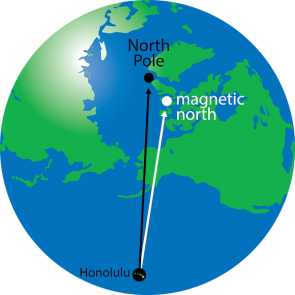 <p><strong>Fig. 8.11.</strong> (<strong>B</strong>) In Honolulu, Hawai'i, the magnetic declination is 9° 46' East.</p><br />