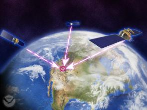 <p><strong>Fig. 8.25. </strong>Three satellites are needed for a GPS receiver to determine the latitude and longitude of a location.</p><br />