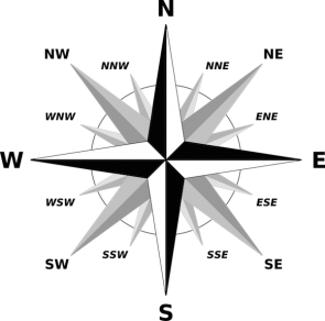 <p><strong>Fig. 8.28.</strong> (<strong>A</strong>) A traditional simple compass rose shows true geographical north.</p><br />
