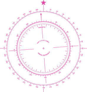 <p><strong>Fig. 8.28.</strong> (<strong>B</strong>) A modern detailed compass rose shows both true north and magnetic north (with a magnetic variation or declination of approximately 4˚ west).</p>