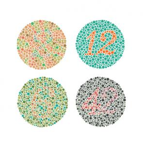 <p><strong>SF. Fig. 1.7.</strong>&nbsp; Images from the Ishihara color perception test. People with normal color vision will see numbers in each circle. The numbers are, clockwise from top left, 2, 12, 42, and 6.</p><br />