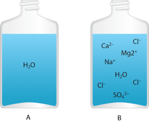 <p><strong>Fig. 2.2.</strong>&nbsp; (<strong>A</strong>) Pure water consists of only hydrogen and oxygen combined into water molecules (H<sub>2</sub>O). (<strong>B</strong>) Seawater is a mixture of pure water and dissolved ionic substances.</p><br />