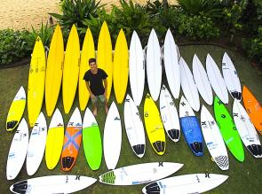 "<p><strong>SF Fig. 4.2.</strong>&nbsp;(<strong>A</strong>) The quiver of a professional surfer, Evan Valiere. He models his quiver of high-performance short boards (from 5'10"" tall) and longer boards (up to 10'5""). The longer ones, also known as ""guns"", are made for catching large, outer reef waves (such as those that break at Waiamea Bay on Oahu, Hawaii). Notice also the variety of tail shapes, from blunt ""squash"", to rounded pin, to v-shaped ""fish"" tails.</p>"