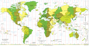 <p><strong>SF Fig. 1.12.</strong> On this standard time zone map of the world, areas located along similar longitude lines that are the same color have the same time.</p><br />