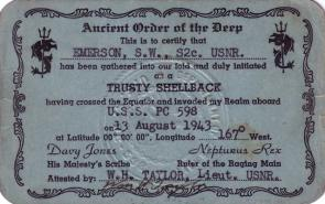 <p><strong>SF Fig. 3.1.</strong> (<strong>A</strong>) A certificate commemorating a sailor's first equator crossing is given to new sailors.</p><br />