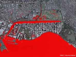 <p><strong>SF Fig. 3.6.</strong> (<strong>A</strong>) A satellite photo of Waikiki, Hawai'i, has been modified to show potential flooding due to sea level rise. Red indicates saltwater intrusion predicted by 2050.</p><br />