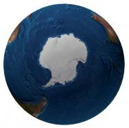 <p><strong>Fig. 1.2 </strong>(<strong>A</strong>)&nbsp;Map of the world from the South Pole, including sea ice (1997)&nbsp;</p><br />