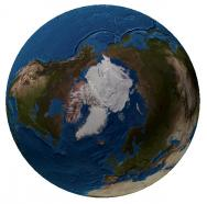 <p><strong>Fig. 1.2&nbsp;</strong>(<strong>C</strong>)&nbsp;Map of the world from the North Pole, not including sea ice&nbsp;</p><br />