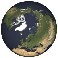 <p><strong>Fig. 1.2&nbsp;</strong>(<strong>B</strong>)&nbsp;Map of the world from the North Pole, including sea ice (1997)&nbsp;</p><br />