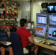 <p><strong>Fig. 2.7.</strong> (<strong>A</strong>) Scientists aboard the National Oceanic and Atmospheric Association (NOAA) Ship <em>Thomas Jefferson</em> use computers to monitor and analyze SONAR data.</p><br />