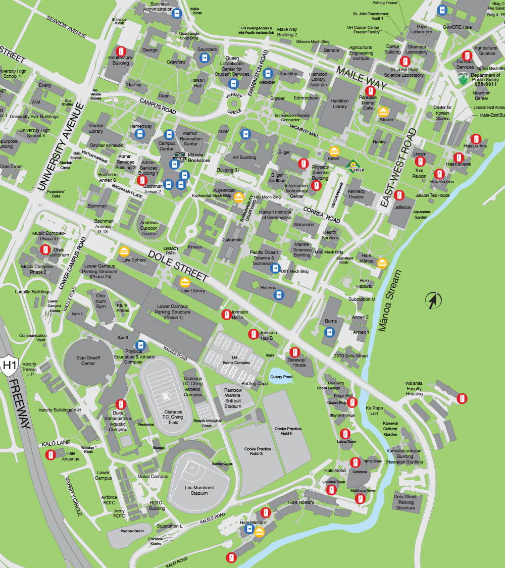 Map of all vending machines on campus