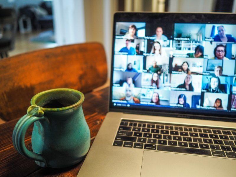laptop showing zoom meeting