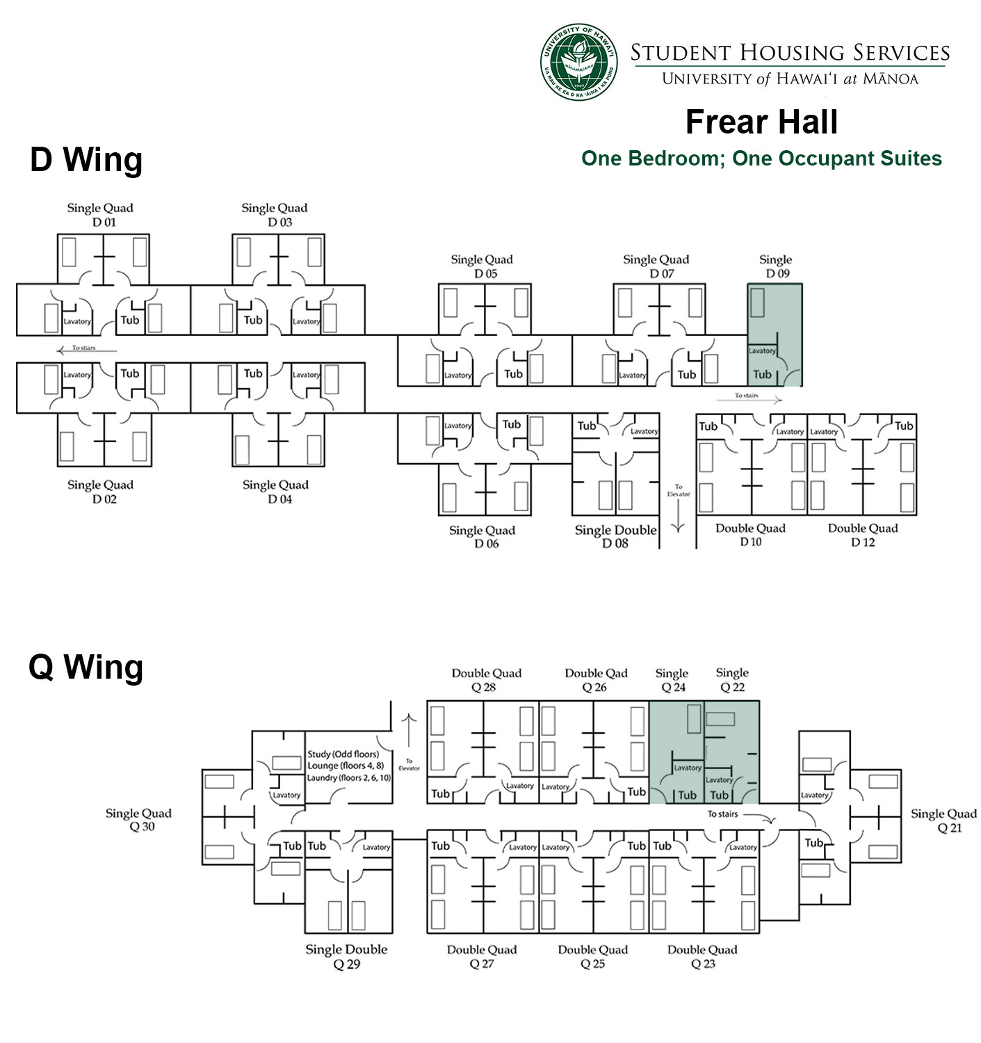 Frear Hall One Bed; One Occupant Floor Plan