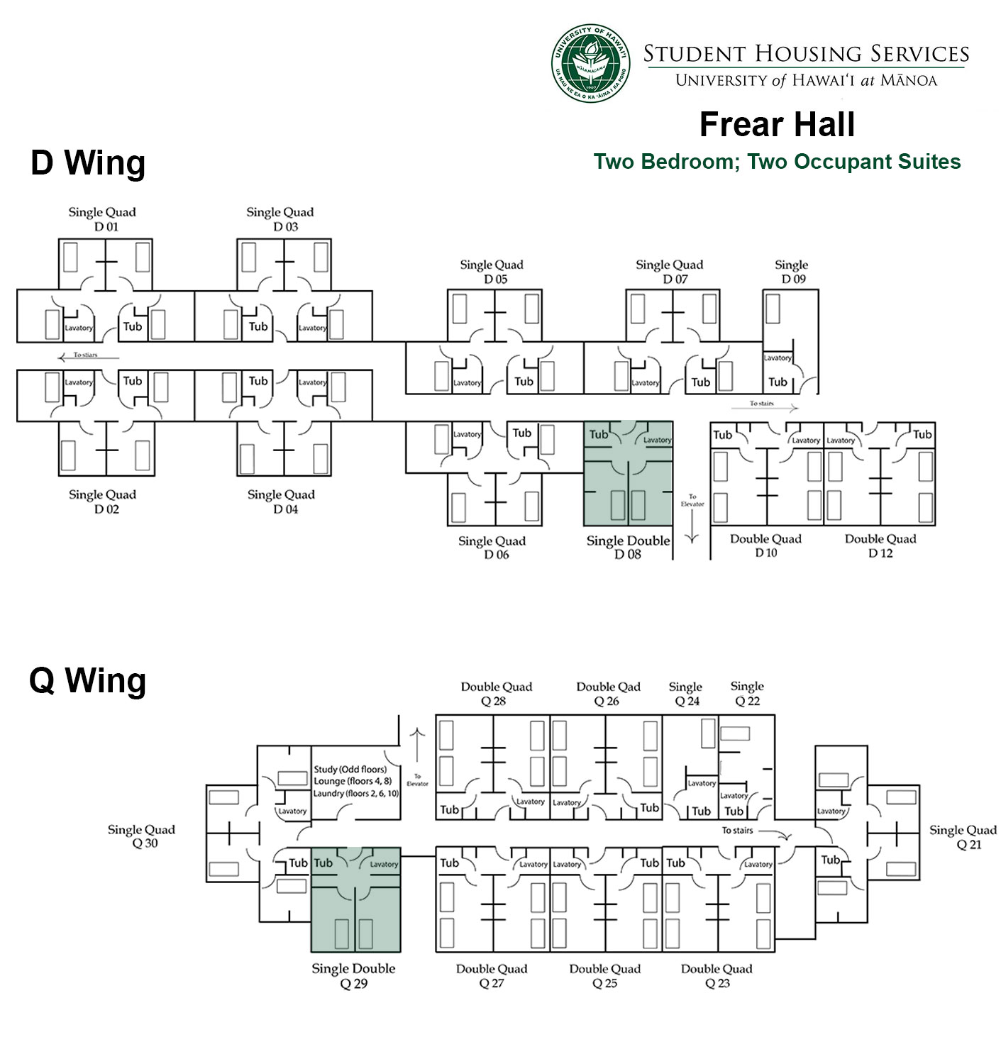 Frear Hall Two Bed; Two Occupant Floor Plan