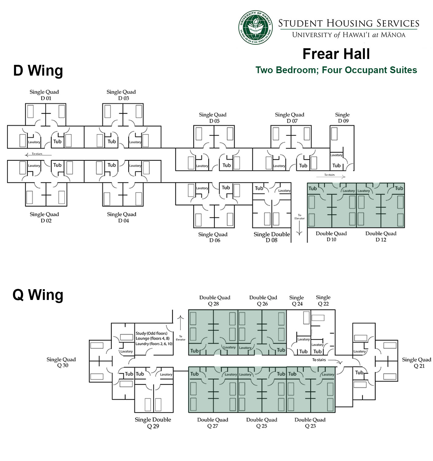 Frear Hall Two Bed; Four Occupant Floor Plan