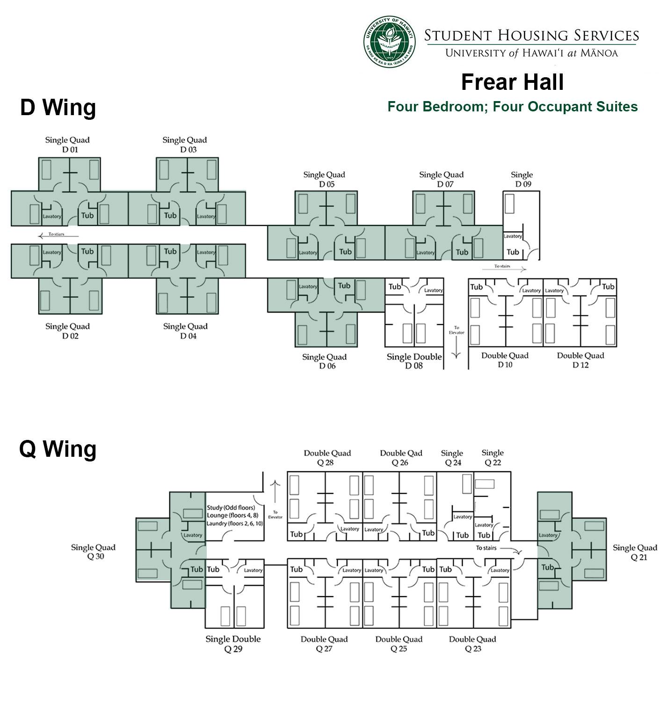 Frear Hall Four Bed; Four Occupant Floor Plan