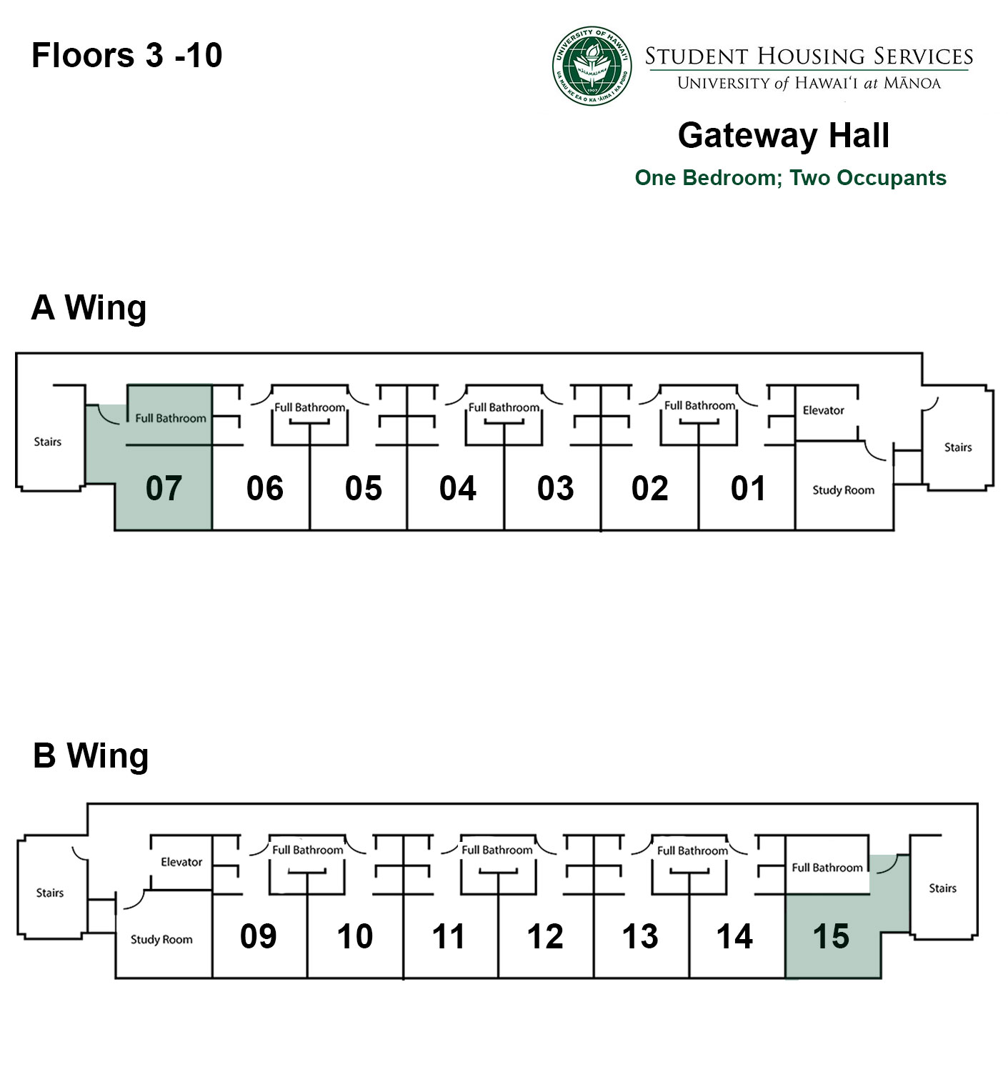 Gateway House One Bed; Two Occupant Floor Plan