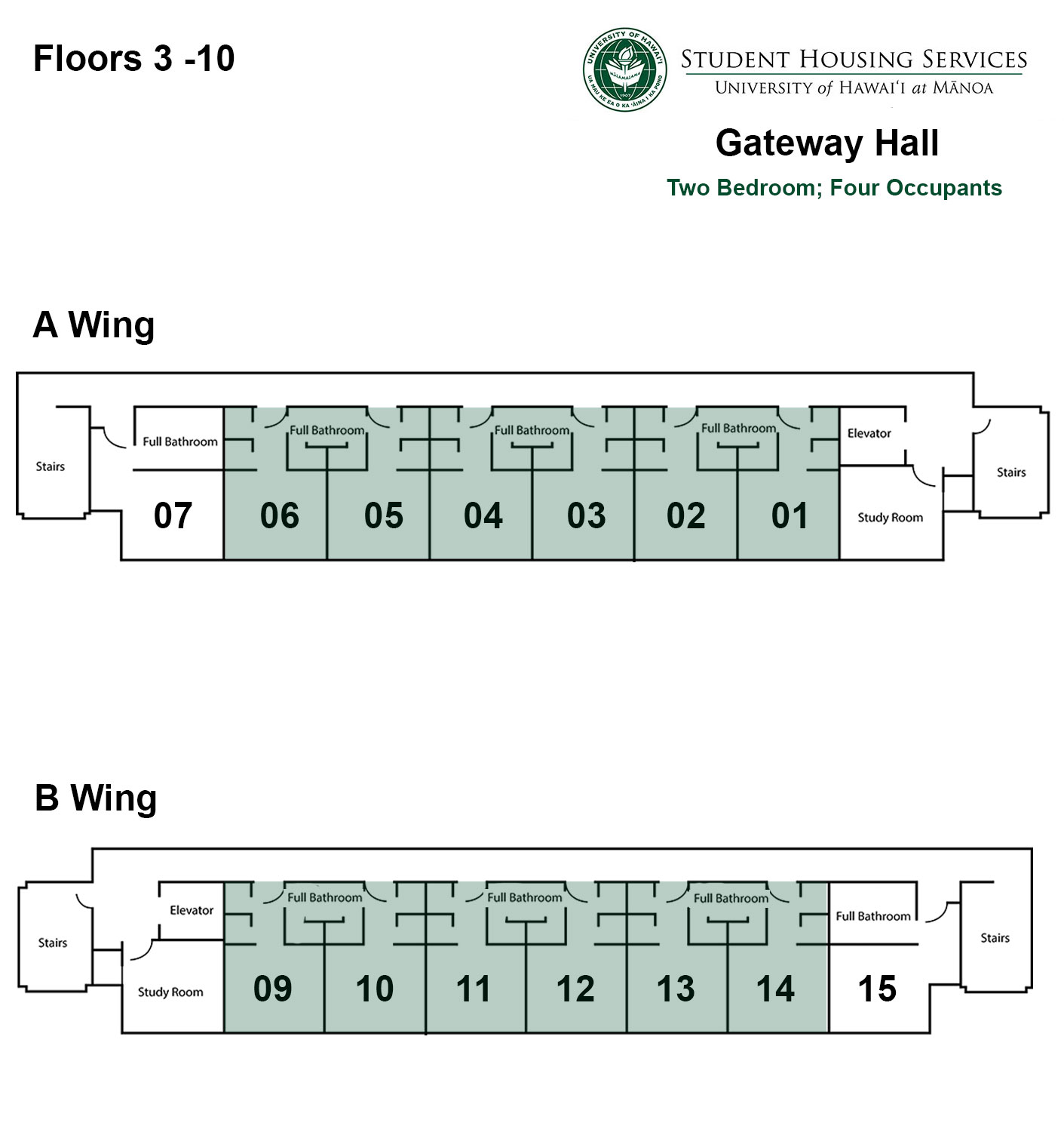 Gateway House Two Bed; Four Occupant Floor Plan
