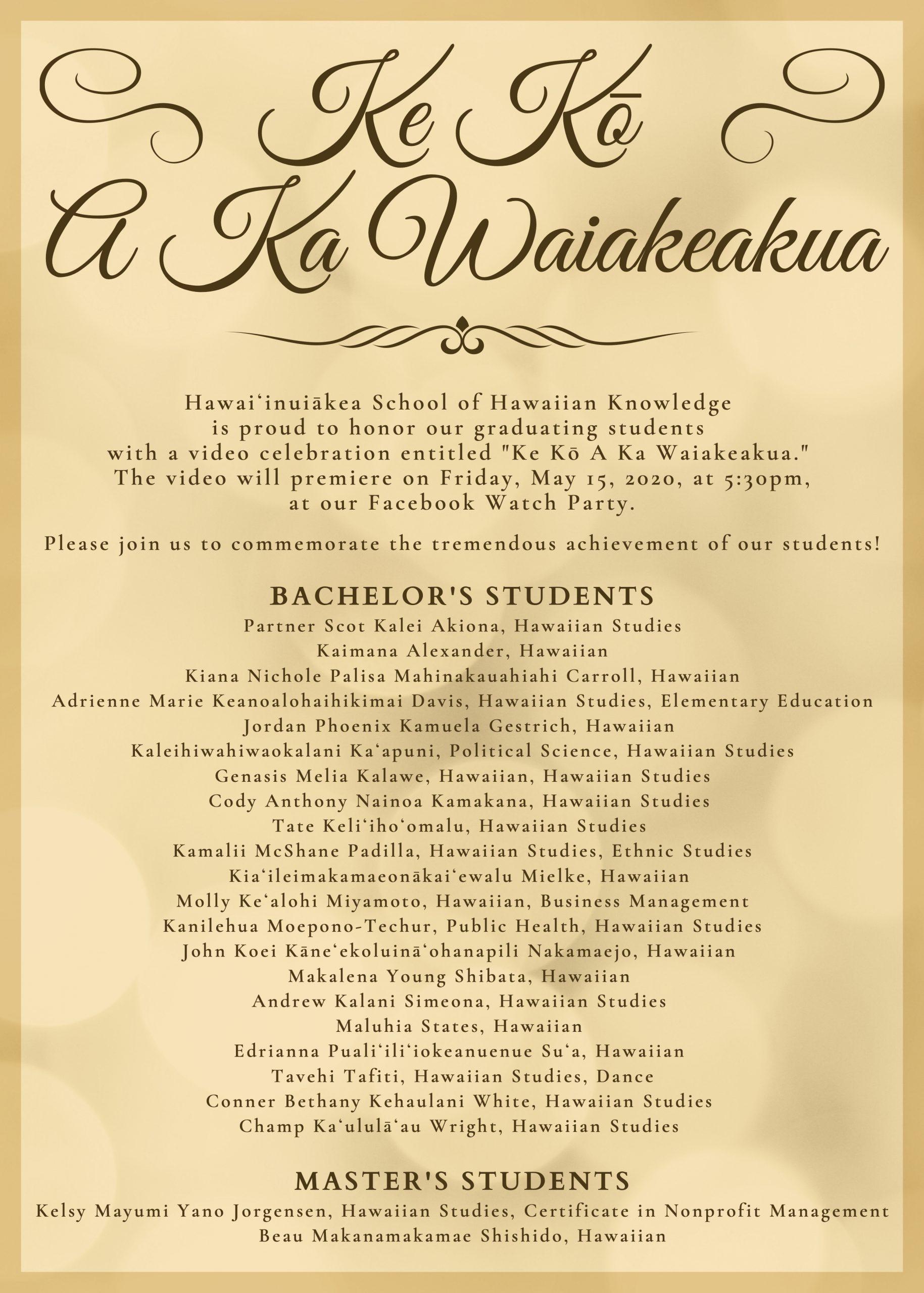 Ke Kō A Ka Waiakeakua
