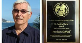Mike Hadfield and his award