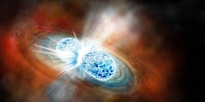 A binary neutron star merger and resulting kilonova explosion.