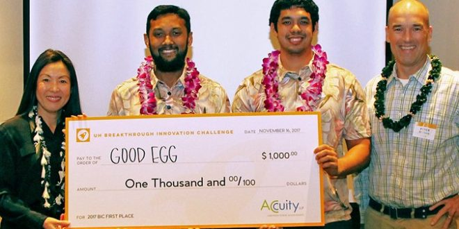 Accuity Consulting Services President Julia Okinaka, Goog Egg team members Arif Rahman and Kainalu Matthews; and PACE Executive Director Peter Rowan.