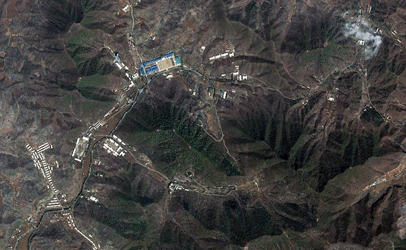 Aerial view of Yusang-ni, North Korea