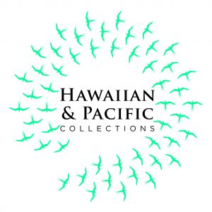 Hawaiian and Pacific Collections graphic with circular logo of frigate birds.