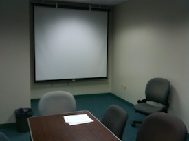 Projector screen in presentation practice room