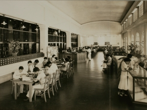Students studying in a large hall