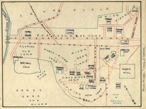 Hand-drawn map depicting Kahuku as a plantation community in 1932