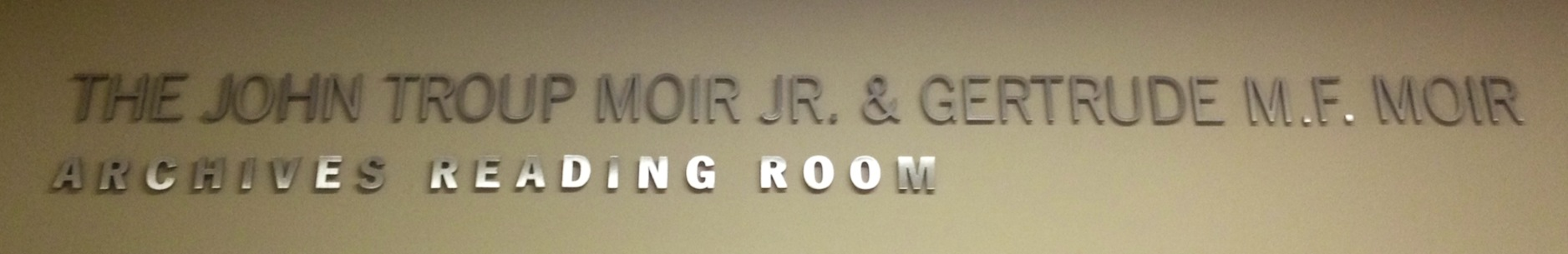 A picture of the Moir Reading Room sign