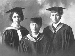 1915 graduating class photo showing Alice Augusta Ball, Yakichi Kutsunai, and Tomoso Imai