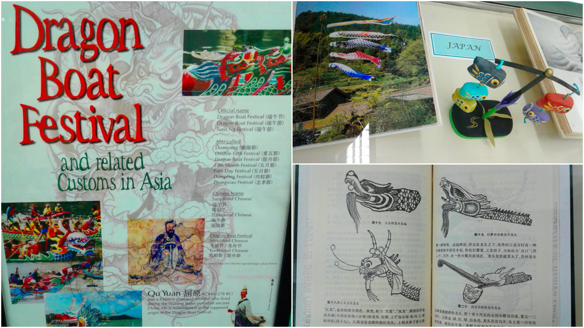 Images of various dragon boats in books