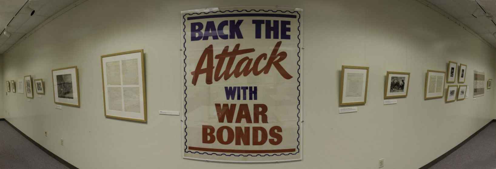 "Poster with text ""Back the attack with war bonds"""
