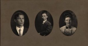 Composite photo showing three of the four graduates in the College of Hawaii graduating class of 1912.