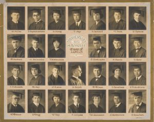 The 1923 graduating class composite photo, including at least three women who later became faculty members at the University: May Gay, Ruth Yap, and Marie Hoermann.