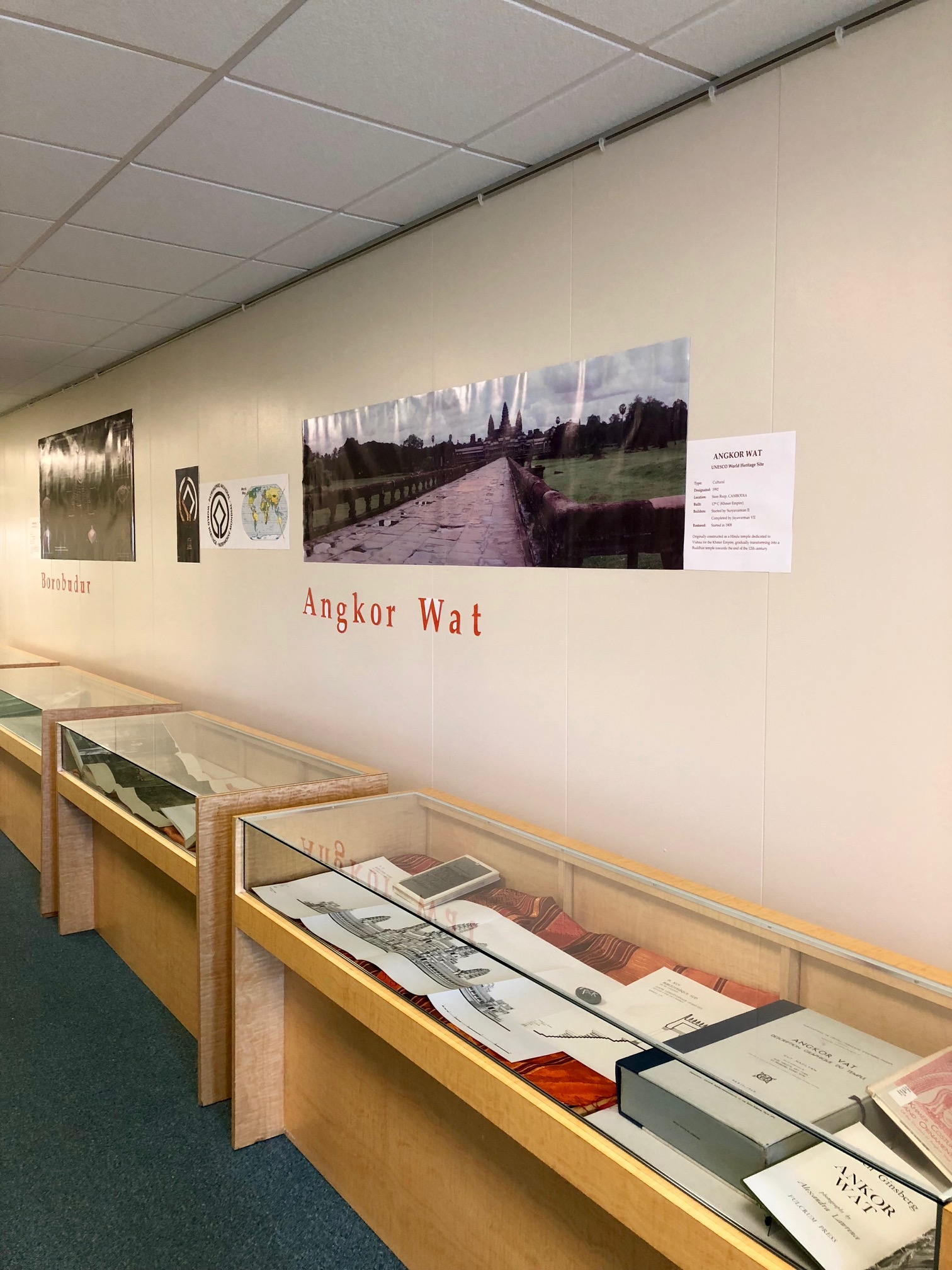 Posters and display cases for borobudur & angkor wat exhbiit