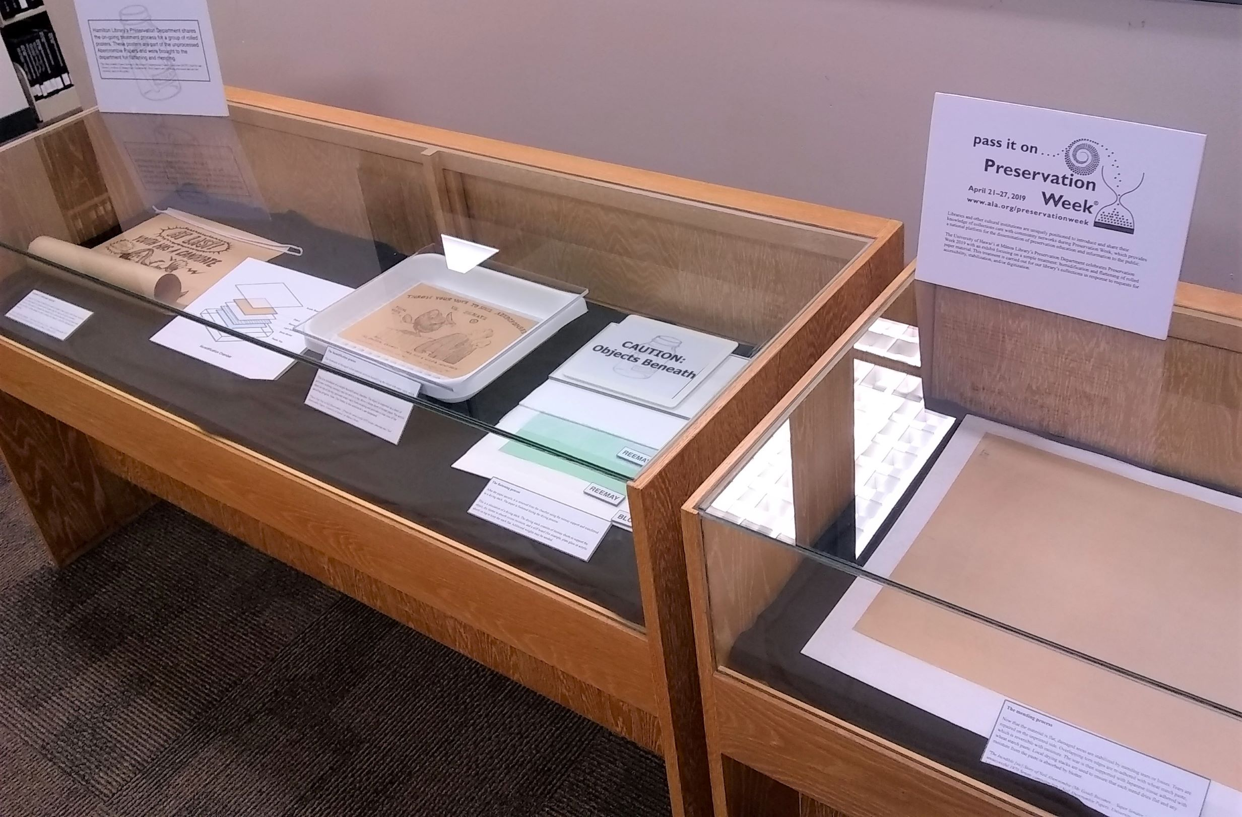 Display case for preservation week exhibit showing the process of unrolling paper.
