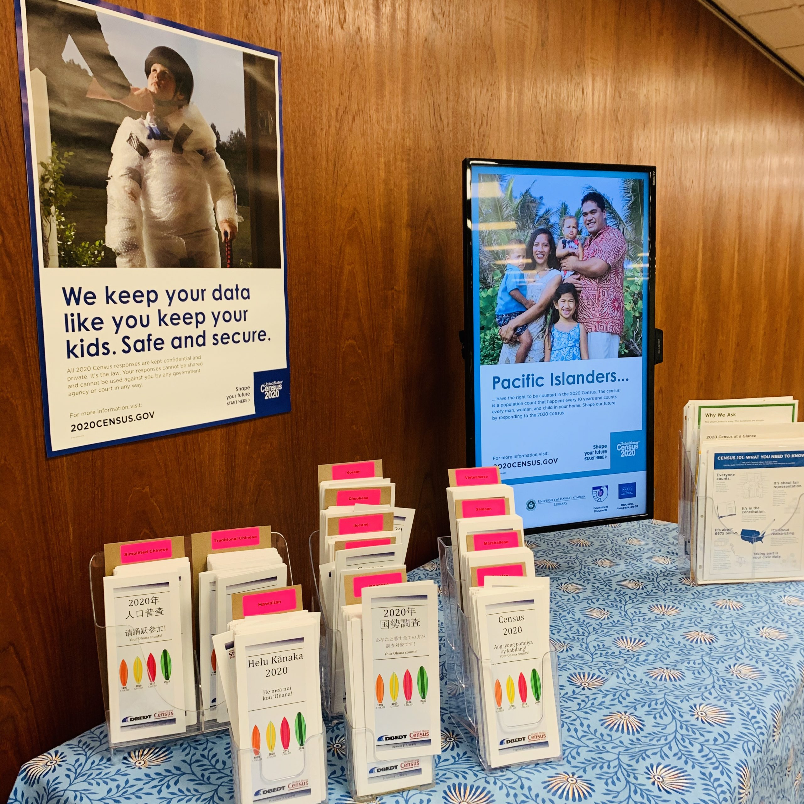 Brochures and slideshow for Census 2020: ALL in for a Better Hawaii exhibit