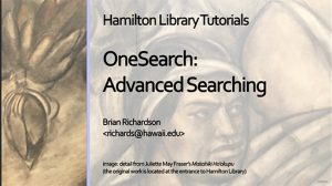 Thumbnail of opening screen for OneSearch: Advanced Search tutorial