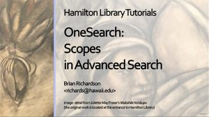 Thumbnail of opening screen for OneSearch: Scopes in Advanced Search tutorial
