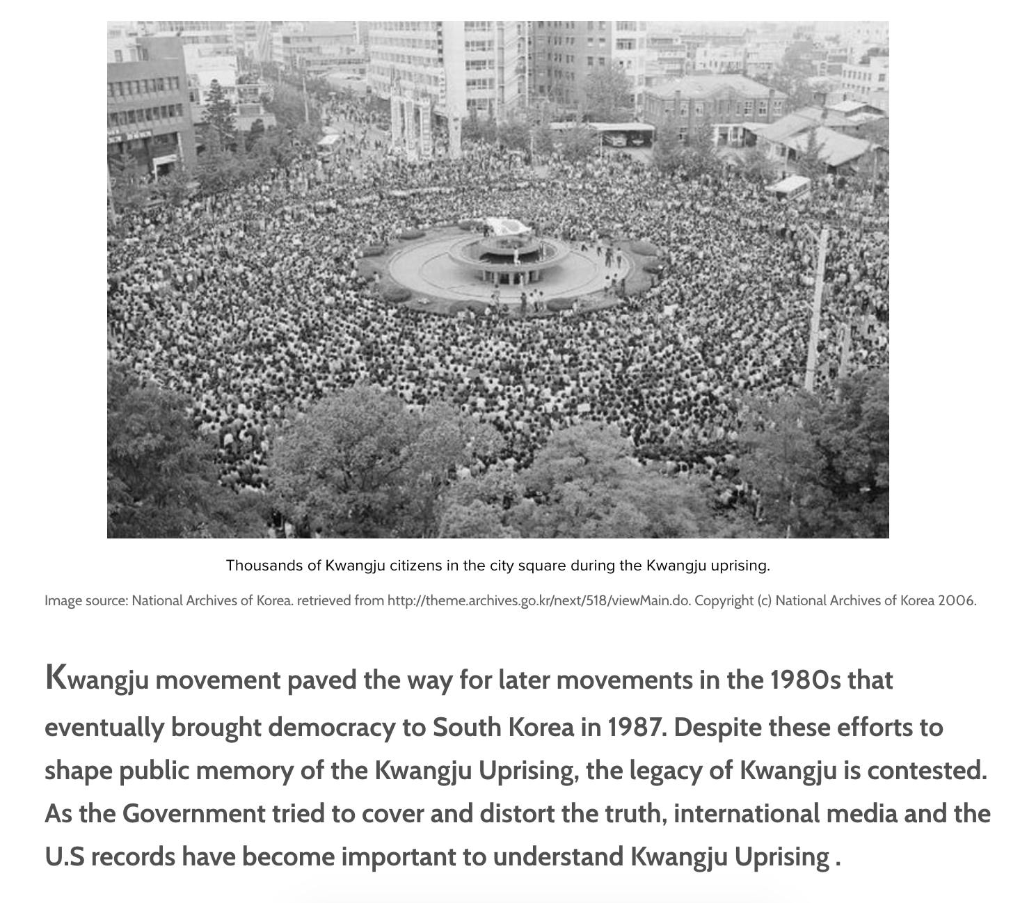 Thousands of Kwangju citizens in the city square during the Kwangju uprising