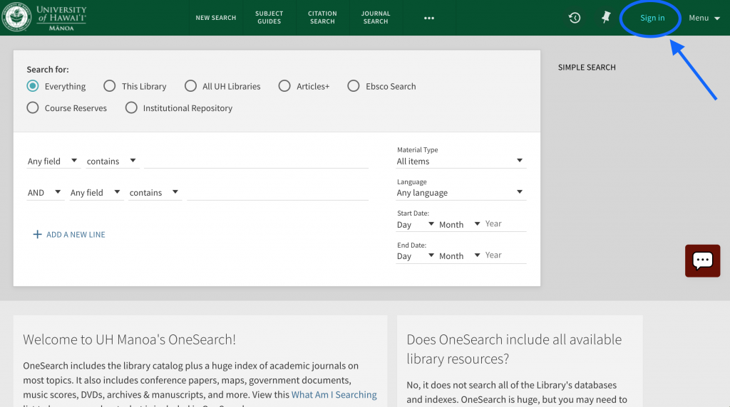 Screenshot of OneSearch main interface with Sign in link in the upper right circled