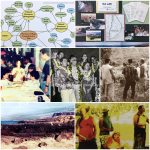 A collage of various groups of people, landscapes, and a resource management diagram
